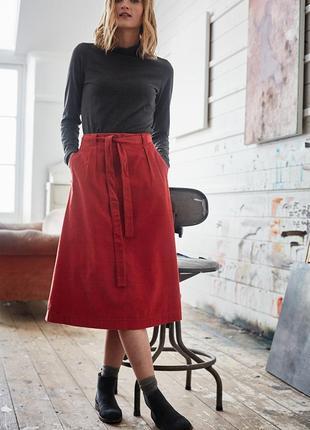 Терракотовая миди юбка seasalt из микровельвета с поясом