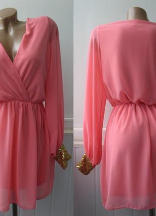 Платье шифоновое, манжеты - пайетки