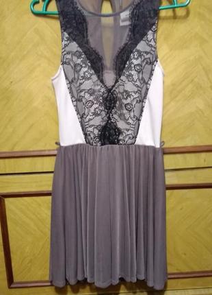 Коктейльное платье с кружевом и фатиновой юбкой цвета мокко фатин ажурное