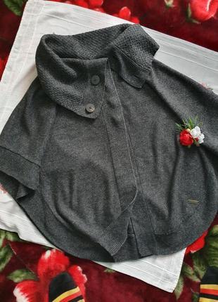Пончо сірого кольору накидка пончо серого цвета
