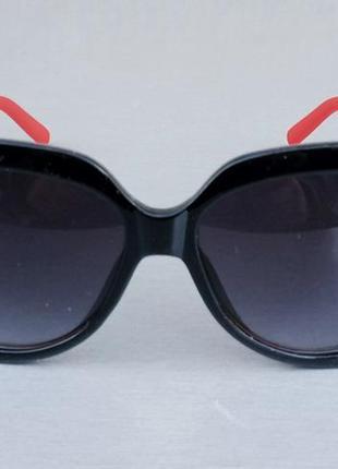 Chanel очки женские солнцезащитные большие черные с красными дужкамм