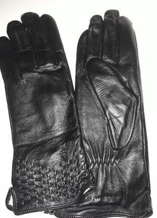Перчатки женские кожа на шерсти