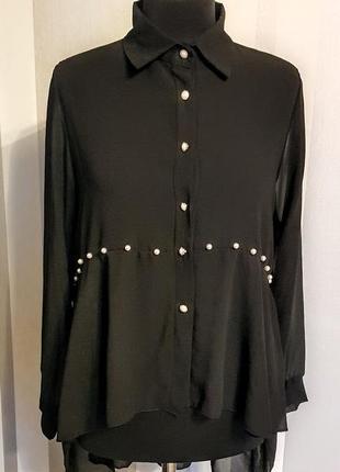 """Шикарная чёрная блузка рубашка """"шифон"""" с жемчугом удлинённая сзади"""