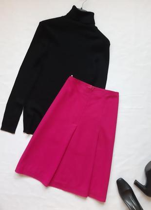 Элегантная шерстяная юбочка цвета фуксии, теплая юбка benetton, m