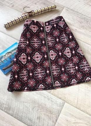 Вельветовая юбка трапеция с замком h&m