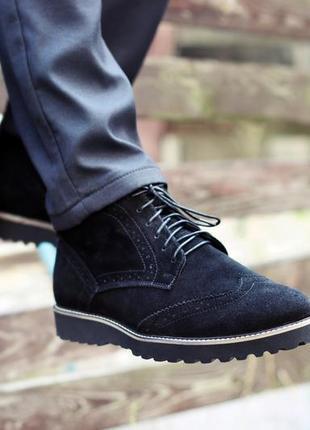 Зимние мужские ботинки броги натуральная замша. скидка при полной оплате на карту