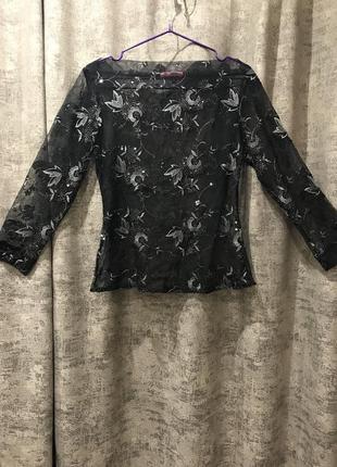 Кружевная прозрачная блузка с пайетками