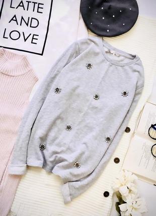 Хлопковый свитер с ювелирными цветами свитшот хлопок