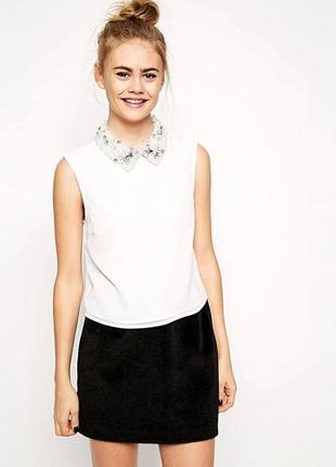 Zara, шикарный воротник, украшение с бусинами на блузу, жемчужины, камни, стразы,
