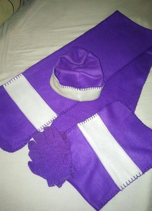 Прекрасный набор : шарф + шапочка + перчатки в подарок