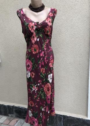 Винтаж,шелк100%,платье,сарафан по фигуре,цветочный принт