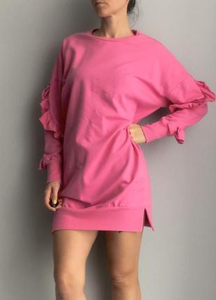 Актуальное платье свитшот розовое