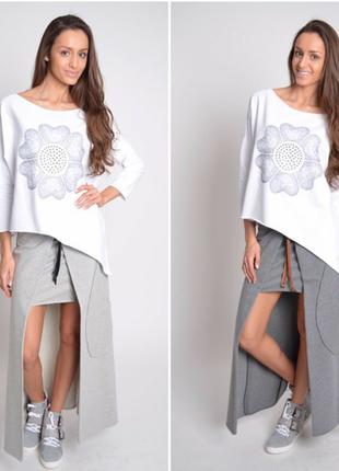 Ассиметричная оверсайз туника блуза свитшот кофта трикотажная цветочный принт вышивка