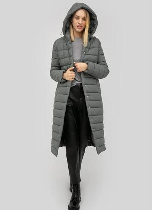 Куртка зимняя длинная стёганая с капюшоном на поясе серая пуховик cardo эксклюзив