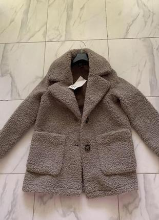 Шуба пальто двубортное zara оригинал тедди тэдди teddy мокко плюш шубка