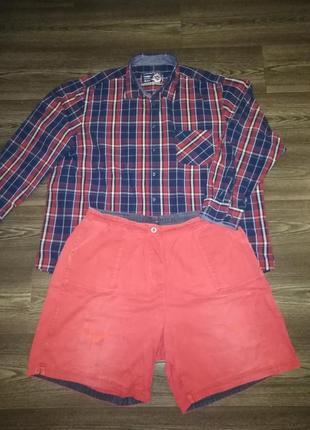 Мега рубашка клетка  waysons 4xl ворот 49-50 + шорты  network  xxl  в подарок