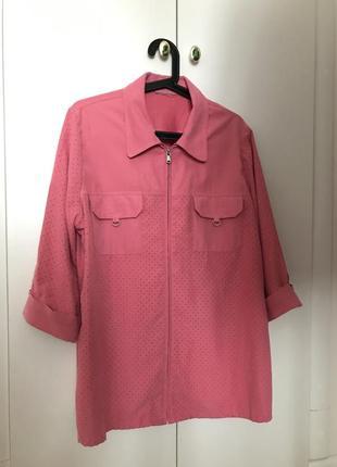 Трендовая замшевая оверсайз рубашка с перфорацией
