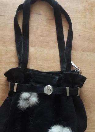 Очень стильная сумка натуральная замша +норка