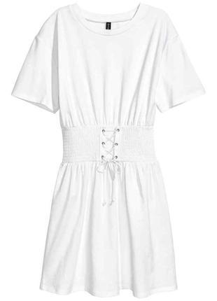 Идеальное белое хлопковое мини платье с корсетом/поясом на шнуровке h&m, p.s(36)