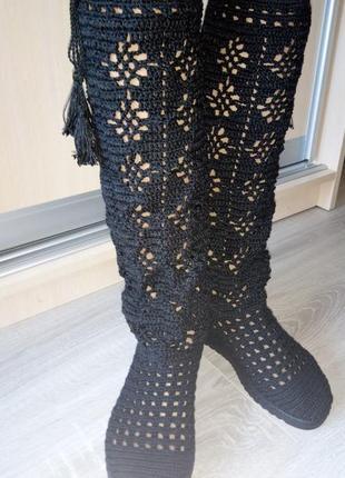 Женские летние вязаные сапоги, сапожки, ручная работа handmade