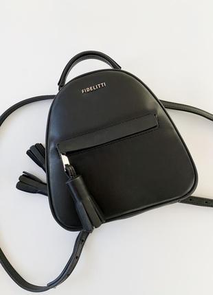 Рюкзак fidelitty из натуральной кожи, чёрный
