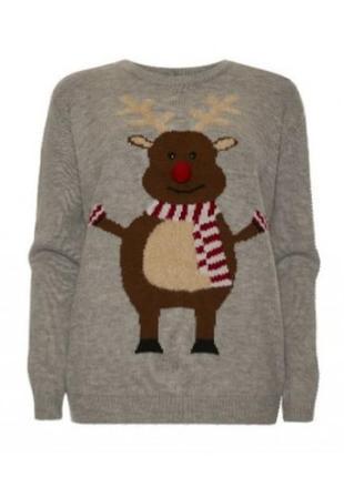Новогодний 3д свитер с оленем.