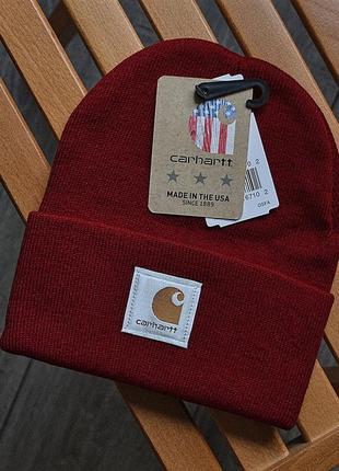 Мужская зимняя шапка carhartt бордовая акриловая