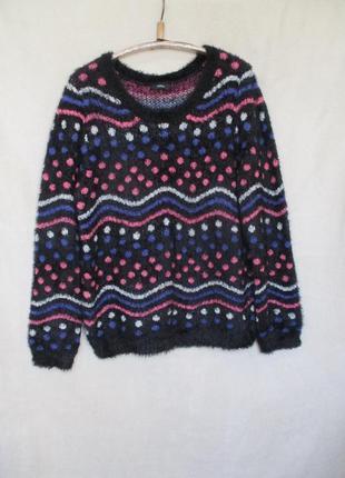 Акция скидка дня теплый пушистый свитер травка/батал
