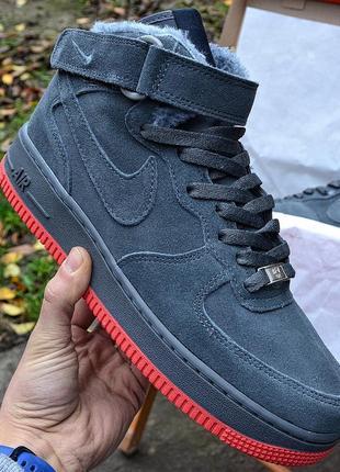 Nike air force mid winter grey мужские зимние кроссовки с мехом серые зима