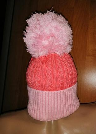Прекрасная стильная шапка с большим помпоном