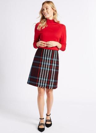 Теплая вязаная юбка с шерстью демисезон-зима высокой талии в стиле шанель m&s