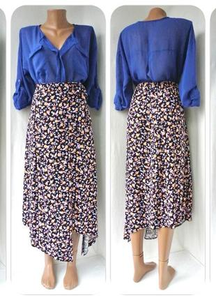 Оригинальная асимметричная юбка new look в цветочек. размер uk12/eur40 (m).
