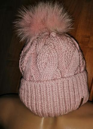 Тёплая двойная шапка с натуральным помпоном