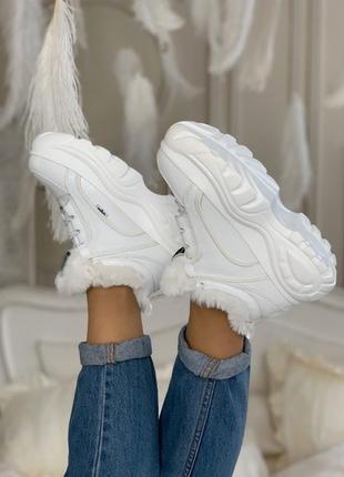 😍buffalo london white winter😍женские зимние кроссовки/ботинки баффало, белые с мехом