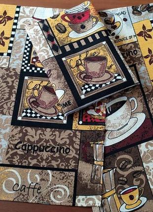 Набор из 3 красивых вафельных полотенец для кухни кофе