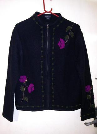 100% шерсть,роскошный жакет-кардиган-куртка-кофта на молнии,с вышивкой,бохо стиль