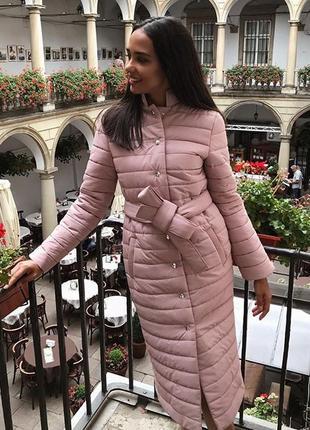 Пальто стеганое в нежно-розовом цвете