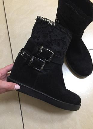 Замшевые сапоги ботинки с кружевом clarks