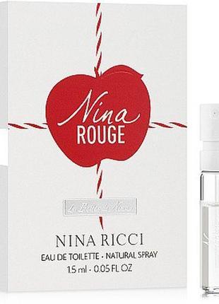 Nina ricci nina rouge, edt, пробник 1,5 мл, оригинал, 2019