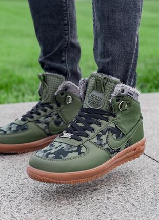 ✳️зимние зелёные мужские кроссовки с мехом✳️camo/olive winter, зима.