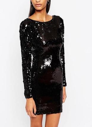 Чёрное платье с паетками asos