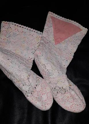 Сапоги сапожки вязанные обувь лето