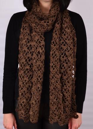 Легкий женский шарф. ручная работа.палантин ажурный