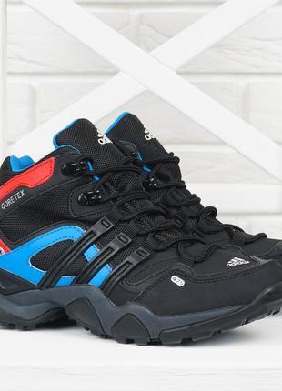 Термо кроссовки женские кожаные adidas gore tex terrex мембранные черные с синим красным