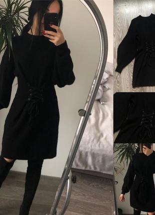 Чорне теплезне плаття з імітацією корсета і рукавом букле