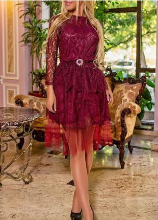 Платье гипюр бордо