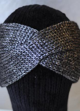 Сріблясто сіра з чорним пушком в'язана пов'язка чалма, повязка серебристо черная