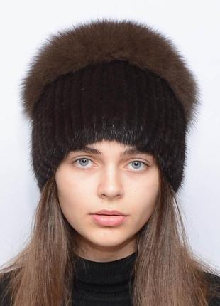 Женская зимняя норковая шапка шарик-бубон,разрез,большой(с песцом) орех