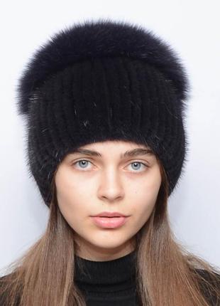 Женская зимняя норковая шапка шарик-бубон,разрез,большой(с песцом) баклажан