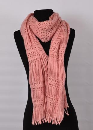 Нарядный женский вязаный шарф. ажурный палантин.длинный шарф.ручная работа